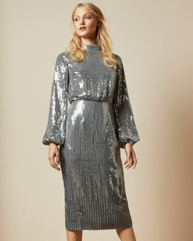TED BAKER OPHLLIA Long sleeved sequin mini dress in gunmetal / evening luxe / glamour