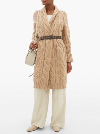 BRUNELLO CUCINELLI Long-line cable-knit cashmere cardigan in camel ~ chunky cardigans