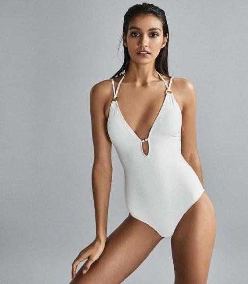 REISS LOUELLA CROSS BACK SWIMSUIT WHITE ~ poolside glamour - flipped