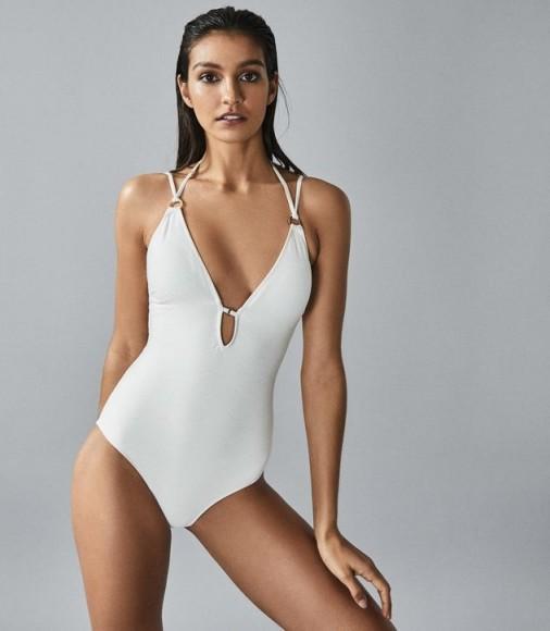REISS LOUELLA CROSS BACK SWIMSUIT WHITE ~ poolside glamour