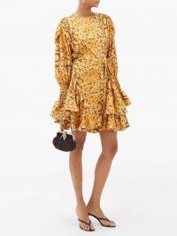 PREEN BY THORNTON BREGAZZI Lupita snake print floral-jacquard mini dress in yellow
