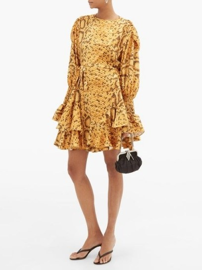 PREEN BY THORNTON BREGAZZI Lupita snake print floral-jacquard mini dress in yellow - flipped