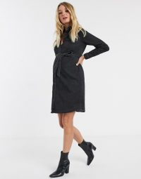 Mamalicious Maternity denim shirt dress with belted waist in washed black | pregnancy wear