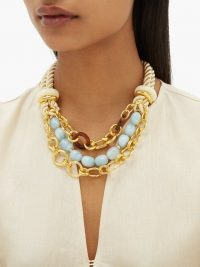 LIZZIE FORTUNATO Marbella gold-plated chain and rope necklace ~ chunky statement accessory