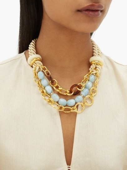 LIZZIE FORTUNATO Marbella gold-plated chain and rope necklace ~ chunky statement accessory - flipped