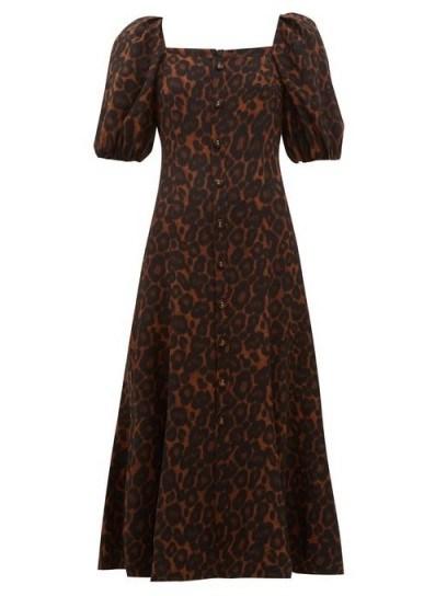 ERDEM Mariona puffed-sleeve silk crepe de Chine dress in brown - flipped