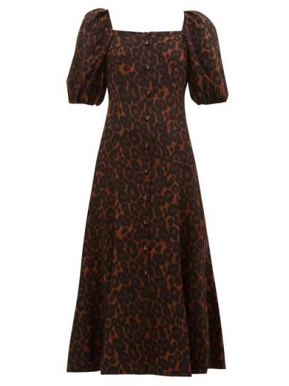 ERDEM Mariona puffed-sleeve silk crepe de Chine dress in brown