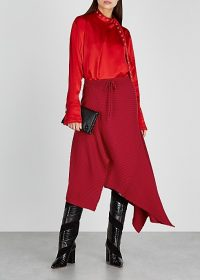 MARQUES' ALMEIDA Red asymmetric merino wool midi skirt | knitted skirts