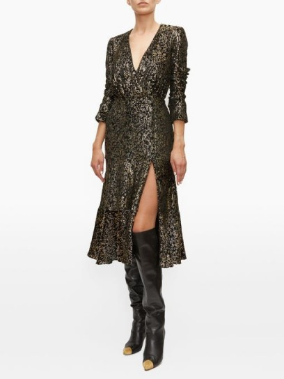 ALTUZARRA Martha V-neck velvet-devoré midi dress in black