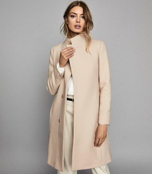 REISS MAYA WOOL BLEND MID LENGTH COAT STONE ~ luxe winter coats ~ neutral outerwear - flipped