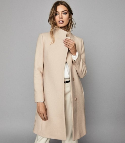 REISS MAYA WOOL BLEND MID LENGTH COAT STONE ~ luxe winter coats ~ neutral outerwear