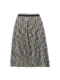MISSONI Metallic diamond-knit skater skirt in blue