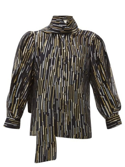 PETER PILOTTO Metallic fil-coupé silk-blend blouse in black