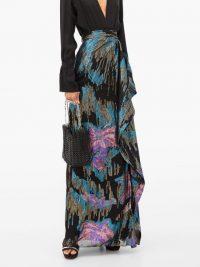 PETER PILOTTO Metallic fil-coupé silk-blend maxi skirt in black