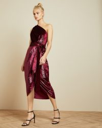 Ted Baker ABINAA Metallic one shoulder draped midi dress in oxblood | occasion glamour
