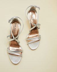 Ted Baker FLORETL Metallic strappy leather sandals ~ silver party shoes