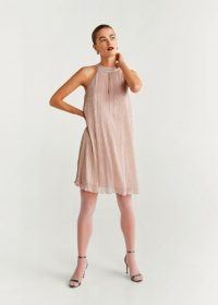 Mango Metallic thread dress in pink ~ trapeze style party dresses