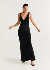 MANGO Metallic thread long dress in black