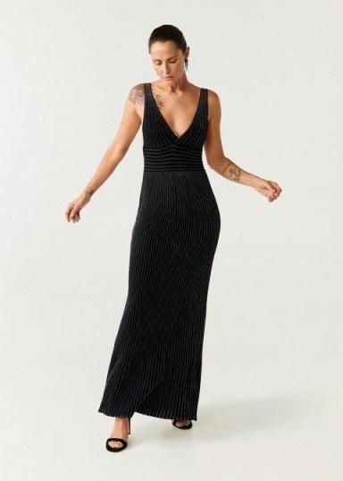 MANGO Metallic thread long dress in black - flipped