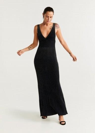 MANGO Metallic thread long dress in black
