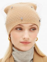 HOUSE OF LAFAYETTE Milou 7 veiled knitted beanie hat in sand-beige ~ the cutest winter hats