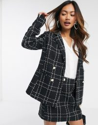 Miss Selfridge boucle check co ord in black / tweed skirt suits