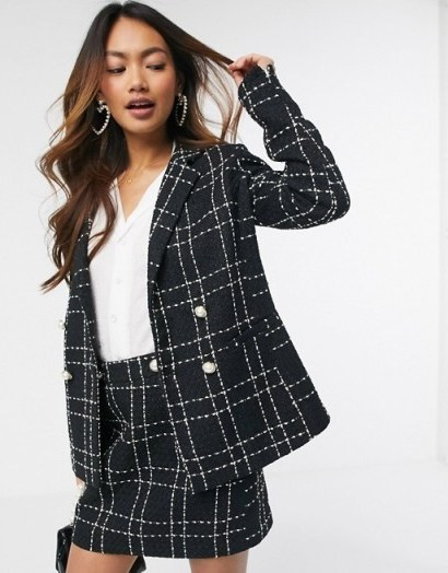 Miss Selfridge boucle check co ord in black / tweed skirt suits - flipped