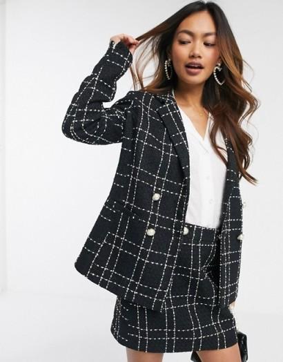 Miss Selfridge boucle check co ord in black / tweed skirt suits