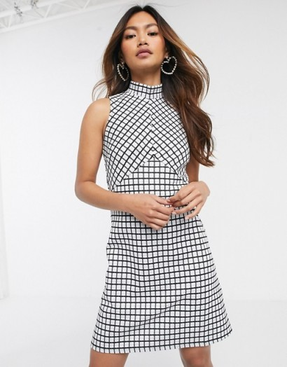 Miss Selfridge mini dress with high neck in check / vintage look fashion / retro style dresses