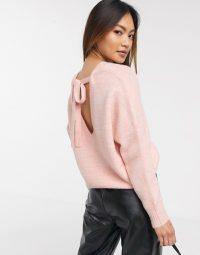 Miss Selfridge open back jumper in pink