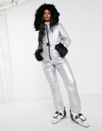 Missguided belted ski suit in silver / shiny winter sports suits