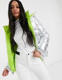 Missguided padded ski jacket in silver / winter sports jackets