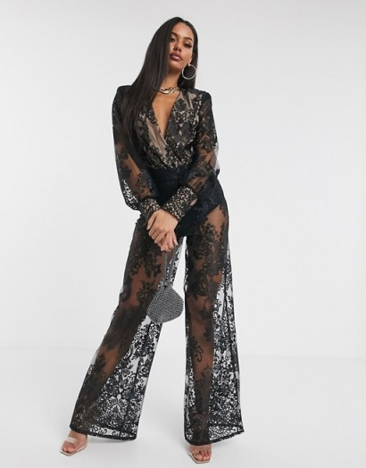 Missguided Peace and Love organza lace co-ord in black | semi sheer evening outfit