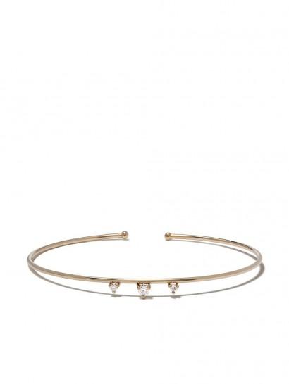 MIZUKI 14kt yellow gold three diamond open bracelet / delicate slim bangle / luxe accessory