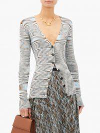 MISSONI Moiré-knit V-neck cotton cardigan in blue
