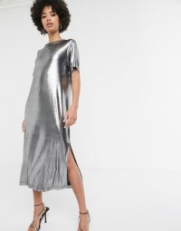Monki foile midi t-shirt dress with side split in silver | metallic dresses