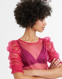 Monki puff sleeve organza blouse in fuchsia pink