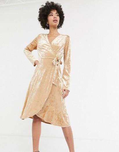Monki velvet midi wrap dress in beige | evening fashion