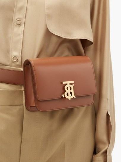 BURBERRY Monogram-clasp tan leather belt bag - flipped