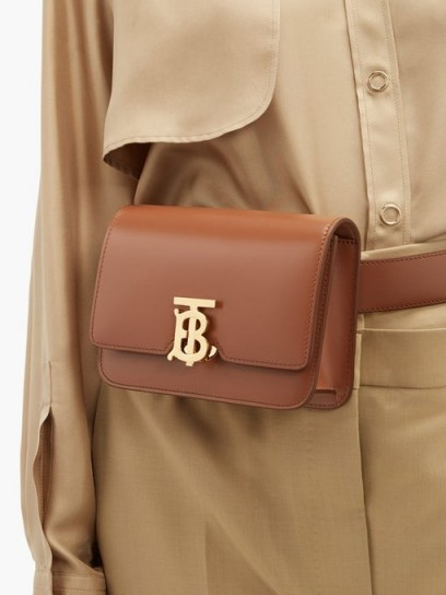 BURBERRY Monogram-clasp tan leather belt bag