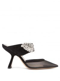 NICHOLAS KIRKWOOD Monstera crystal-embellished suede and mesh mules in black