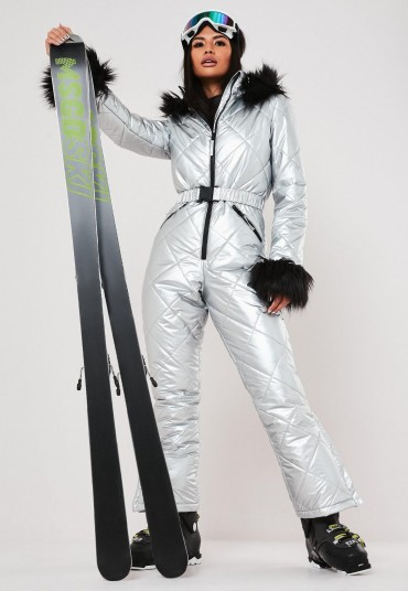 msgd ski silver metallic padded snow suit / winter sports suits