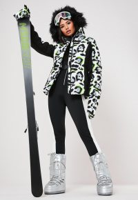 msgd ski white animal print padded jacket with mittens / winter sports jackets