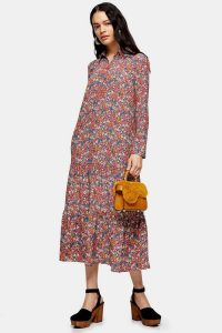 TOPSHOP Multicoloured Peplum Smock Shirt Dress
