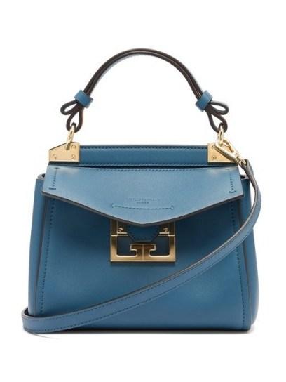 GIVENCHY Mystic mini blue-leather handbag ~ small Italian handbag - flipped