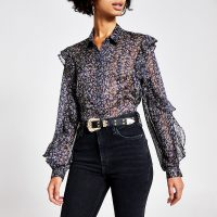 RIVER ISLAND Navy printed long frill sleeve sheer shirt / frilled blouses