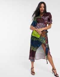 Never Fully Dressed splice wrap midi dress in contrast leopard print / multi-coloured dresses