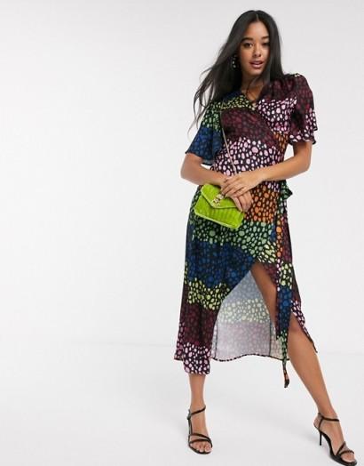 Never Fully Dressed splice wrap midi dress in contrast leopard print / multi-coloured dresses