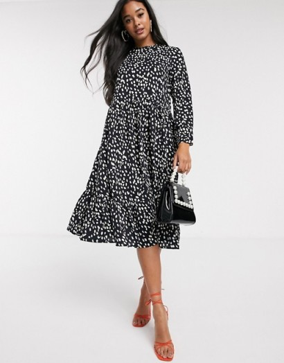 Never Fully Dressed trapeze maxi dress in mono polka print / monochrome dresses