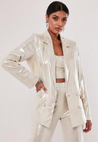 MISSGUIDED nude co ord shimmer oversized blazer / shiny going out jackets